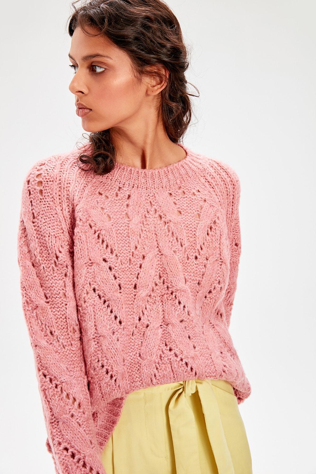 Trendyol Color Rose Mesh Detaylı Sweater TWOAW20KZ0172