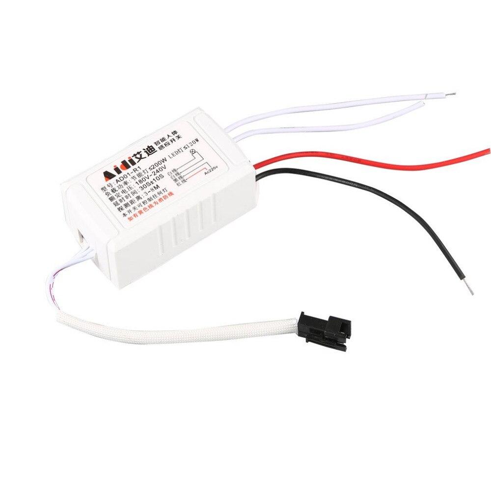 Moduł czujnika ciała na podczerwień inteligentne światło włącznik z czujnikiem ruchu wysokiej jakości 200W 220V przełącznik czujnikowy ciała biały