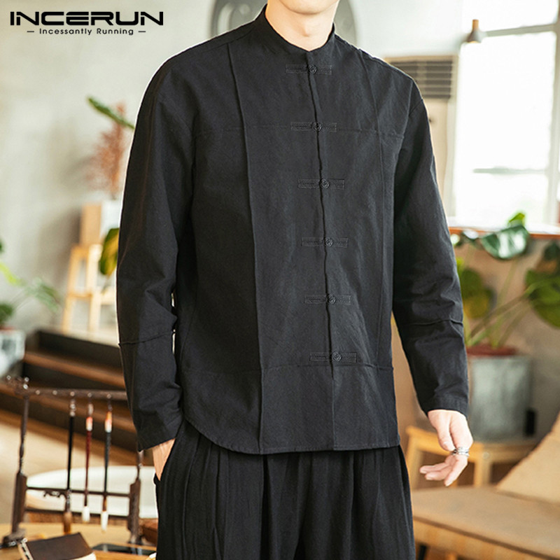 INCERUN Chinese Style Shirt Men Stand Collar Solid Retro Cotton Tops Brand Casual Button Long Sleeve Shirt Men Streetwear Camisa