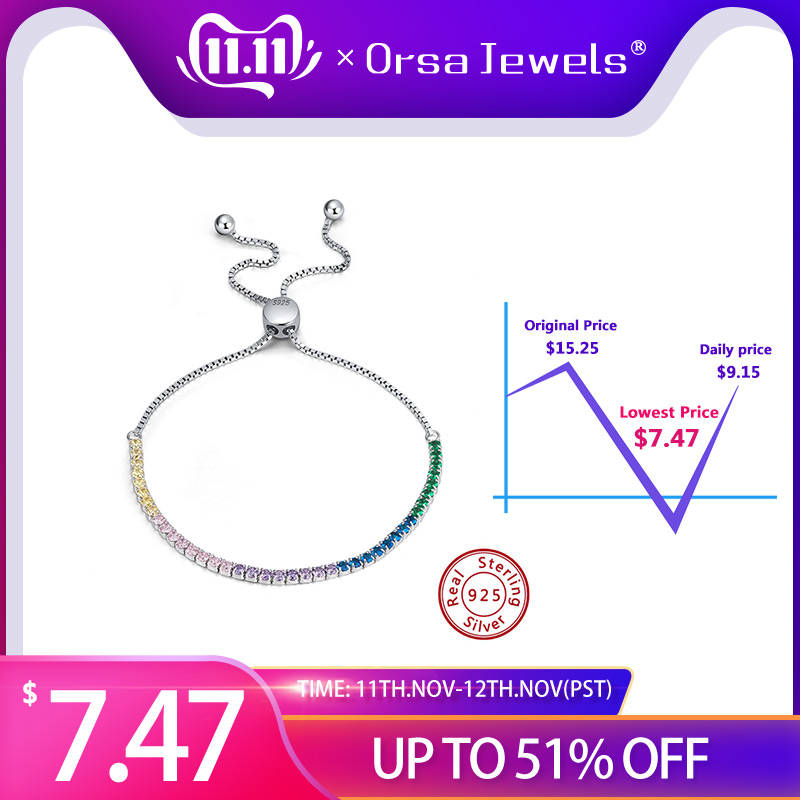ORSA JEWELS Real 925 Adjustable Bracelet With Single Row Transparent ZirconSterling Silver Chain Dating Collocation Jewelry SB43