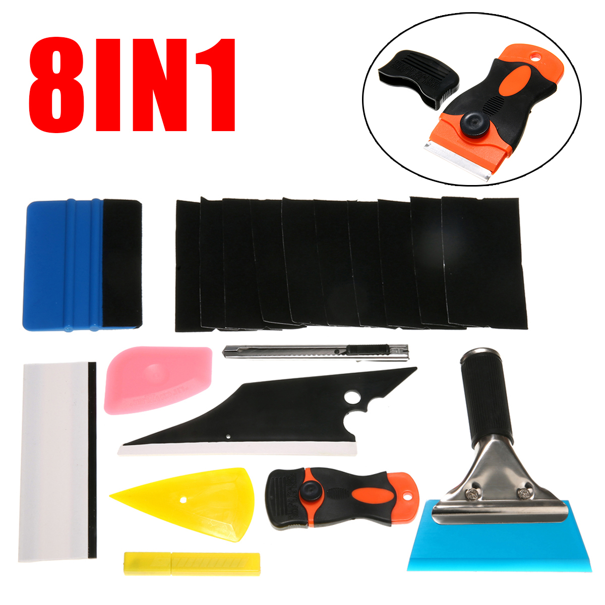 New 8 in 1 Window Tint Tools Kit Auto Car Repair Accessories For Vinyl Film Tinting Squeegee For Car Film Wrap Processing