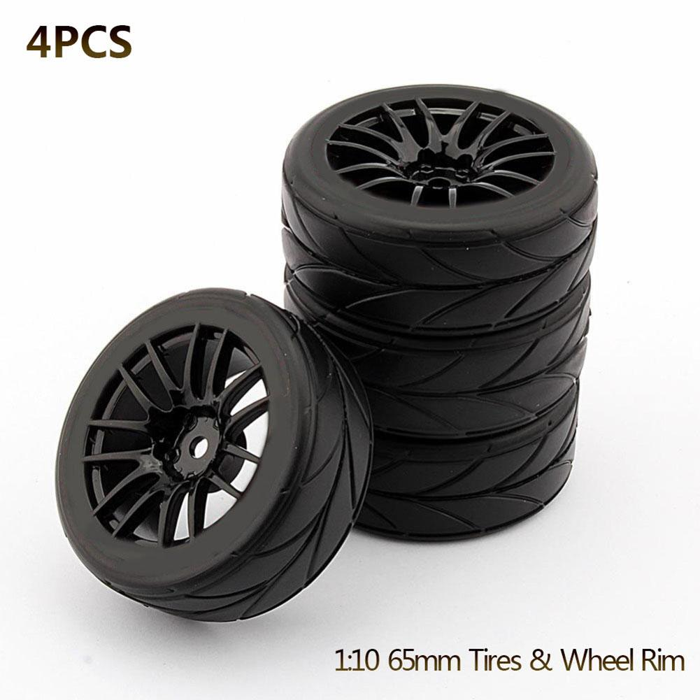 4PCS 1/10 Rubber Tire RC Racing Car Tires On Road Wheel Rim Fit For HSP HPI 9068-6081 RC Car Part Diameter 65mm Tires