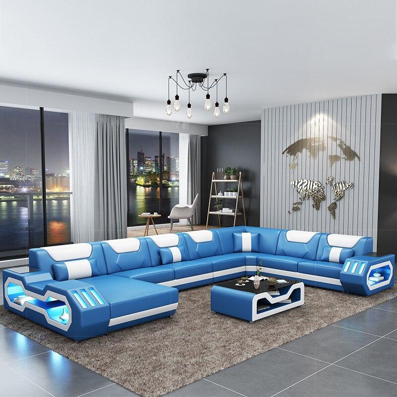 US $1699.0  Hot sale modern leather living room sofa set designs LED lights  living room furniture on AliExpress