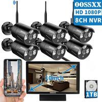 OOSSXX 8CH 1080P Wireless NVR Kit 10' Monitor Wireless CCTV 6pcs 1080P Indoor Outdoor IP67 Camera Video Surveillance System