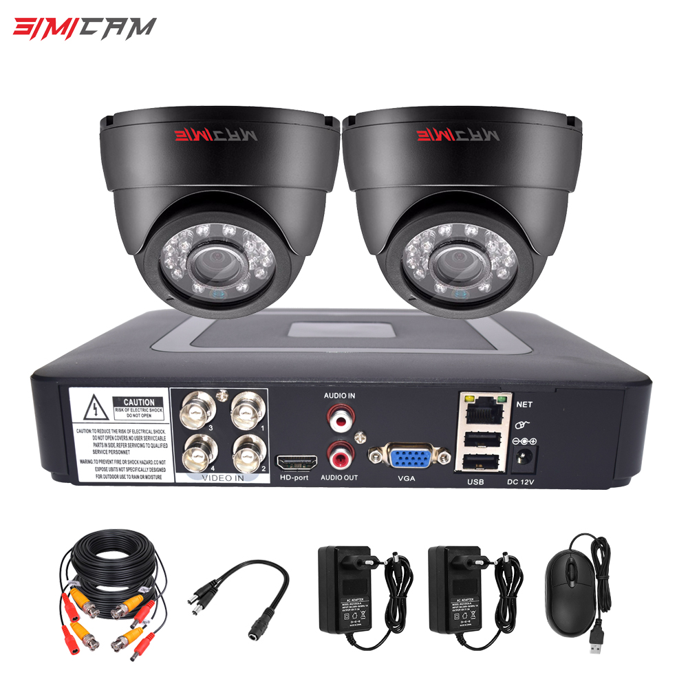 Video Surveillance Camera System Analog AHD 4CH DVR 2pcs Dome Camera 720P/1080P Indoor Infrared Cctv Camera Security System Kit