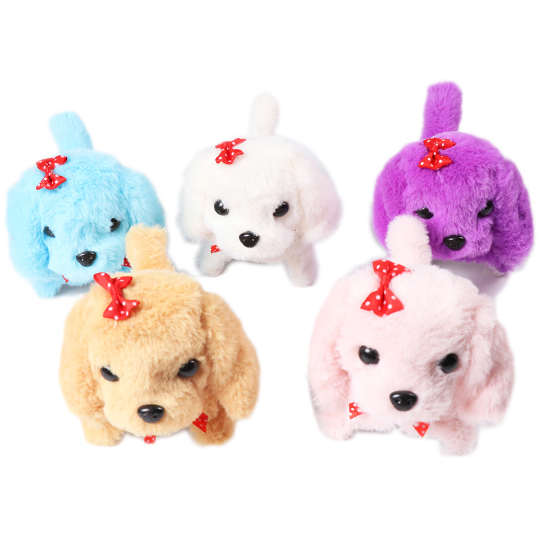 Cross Border Hot Sales Electronic Model Bow Solid Color Toy Dog Plush Doll Creative Forward Backward Will Call Dog