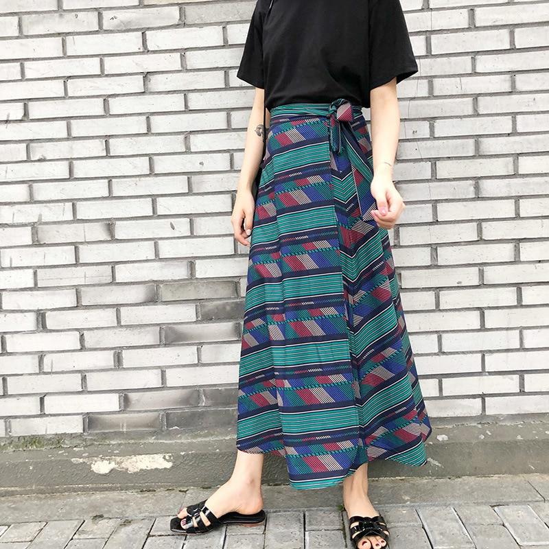 Chiffon Skirt Women's Summer Retro A- Line Skirt Irregular Geometric Pattern Long Skirts Solid Lace-up Beach Skirt