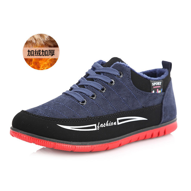 New Casual Men Canvas Shoes Fashion Cneakers Spring Autumn Winter Plush Lace-up Low-cut Derby Man Breathable Loafers
