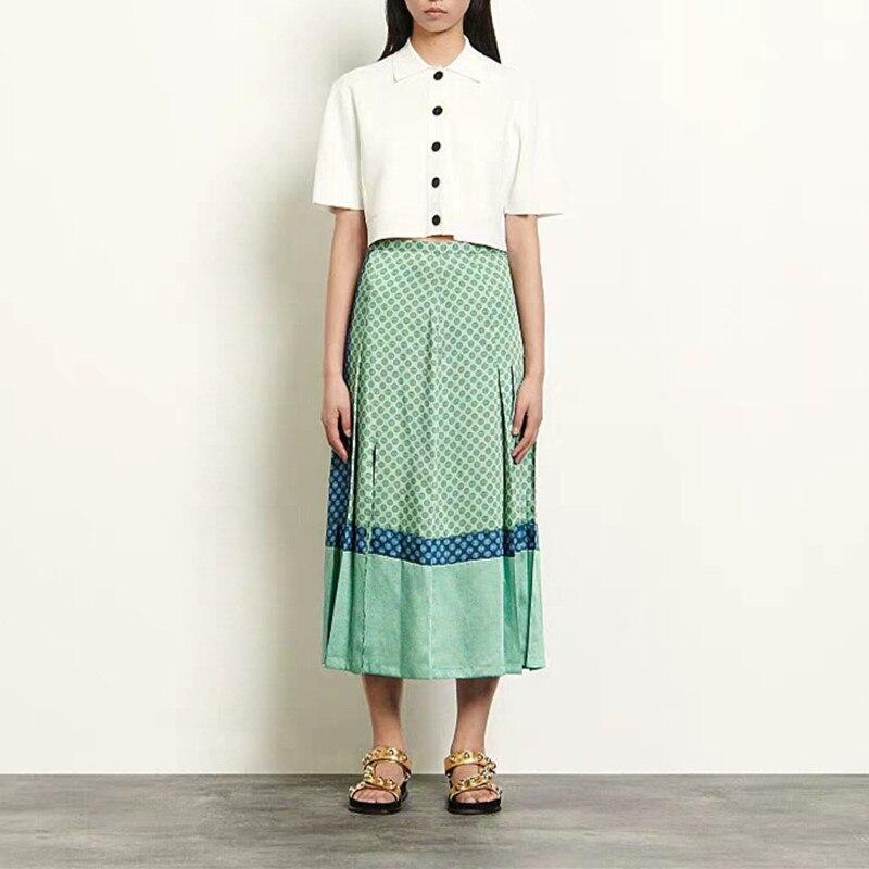 French S 2020 Spring Summer New Temperament Printing Pattern High Waist Slit Pleated Skirt Women