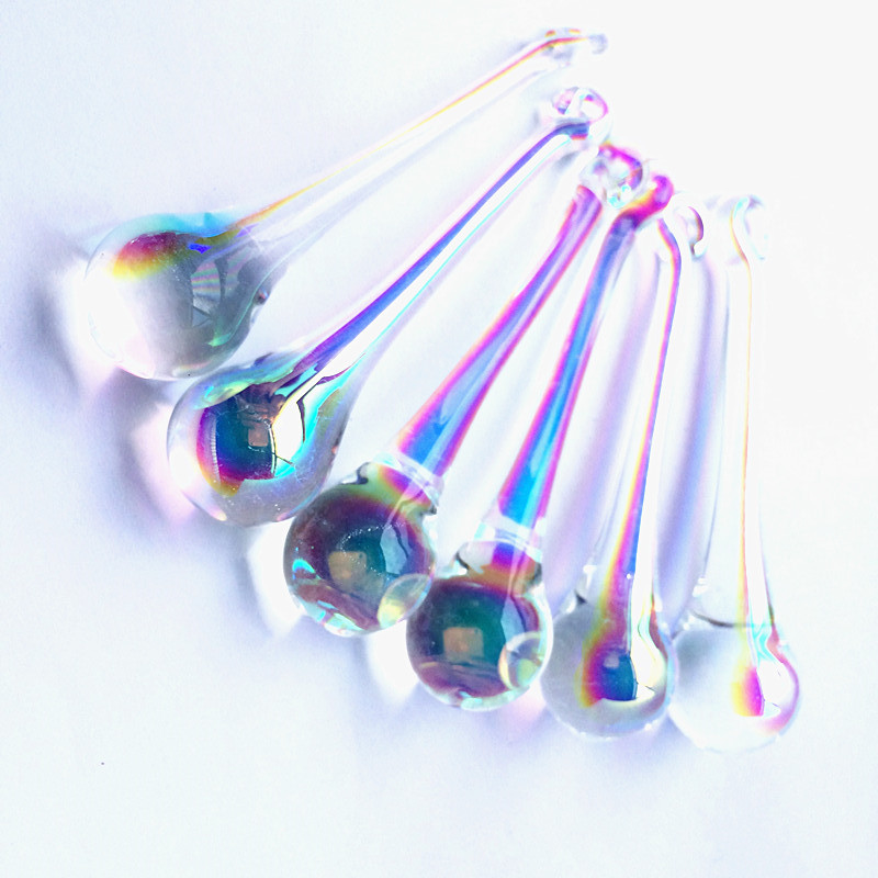 Top Quality (Free Rings) 16*60/ 20*80mm Clear AB Crystal Chandelier Raindrop Glass Pendants Home & Bar Christmas Tree Decoration