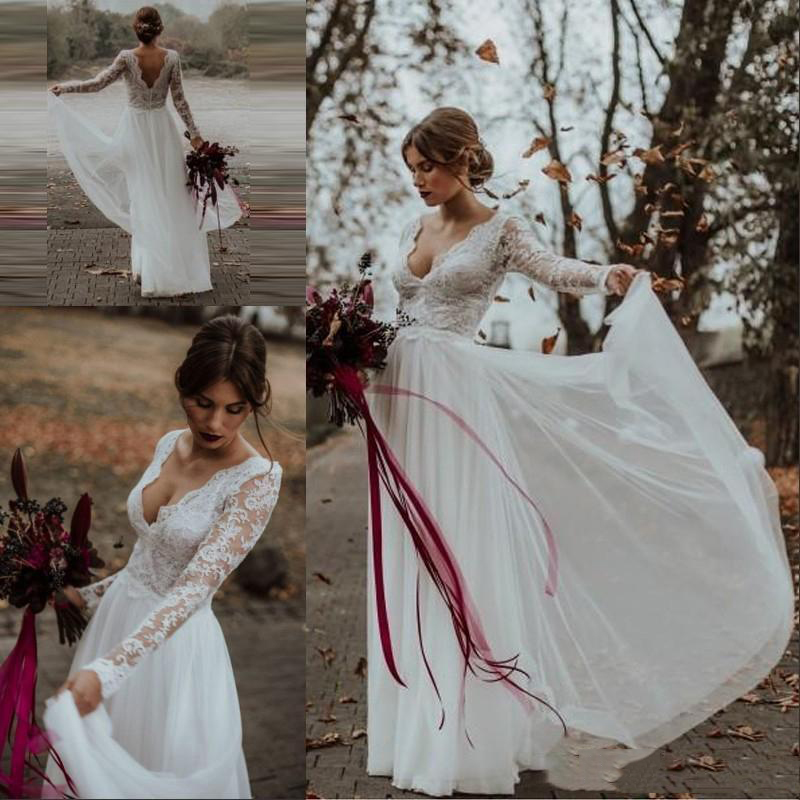 Long Sleeves Wedding Dresses Lace Tulle Backless Bridal Gowns Full Length Vestidos De Novia V-neck Custom Made 2019 A-line