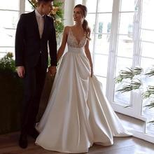 Vestido de noiva com laço, elegante, de cetim, com as costas abertas, gola em v, 2021