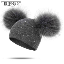 TRUENJOY/детские вязаные шапочки, зимние шапки для девочек и мальчиков, мягкая теплая шапка с помпоном, вязаная шапка Skullies gorros