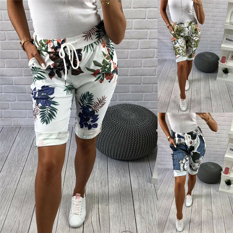 Fashion Summer Women Shorts High Waist Floral Print Girls Shorts Bandage Casual Women Holiday Club Drawstring Shorts Female