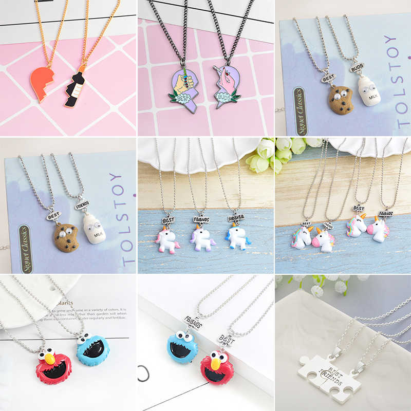2 pieces/set Best Friends Heart-Shaped Pendant Metal Necklace Cute Unicorn BEST BUDS Cartoon Children's Jewelry Accessories Gift