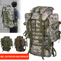 80L Military Tactical Backpack Hiking Rucksack Camouflage Men Camping Army Bag Mountaineering Climbing Trekking Mochila
