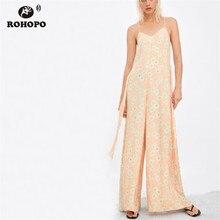 ROHOPO White Daisy Floral Spaghetti Strap Wide Leg Pink Jumpsuit Bandage Back Ladies Holiday Sleeveless Romper #XL6050