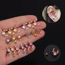 Jewelry Zircon Cartilage-Earrings Ear-Piercing Stainless-Steel Heart-Tragus Helix Color