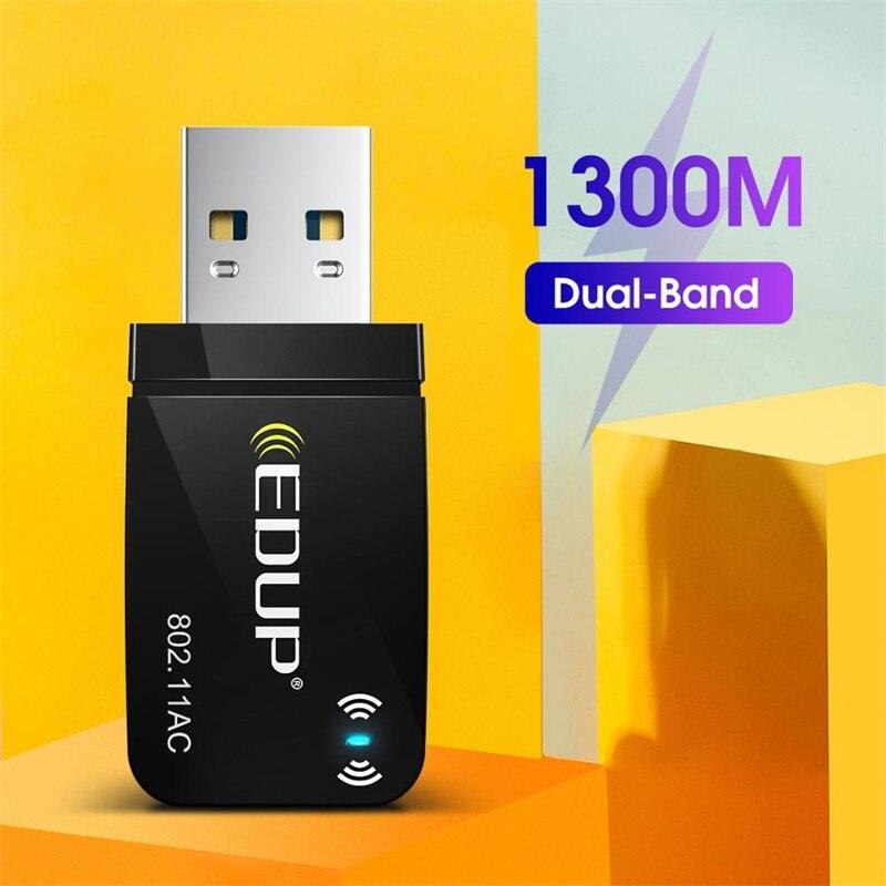EDUP 1300 Мбит/с USB WiFi адаптер переменного тока Dual Band Беспроводной USB Lan сетевая карта 802.11AC мини Портативный Wi-Fi адаптер для портативных ПК