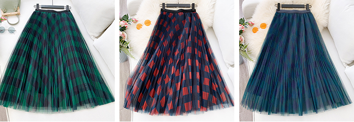 H27e5f9ebc5f34f4a96f82f0129bfcb26Q - TIGENA Green Red Long Plaid Tutu Tulle Skirt Women Fashion New Elegant A Line High Waist Pleated Maxi Skirt Female Ladies