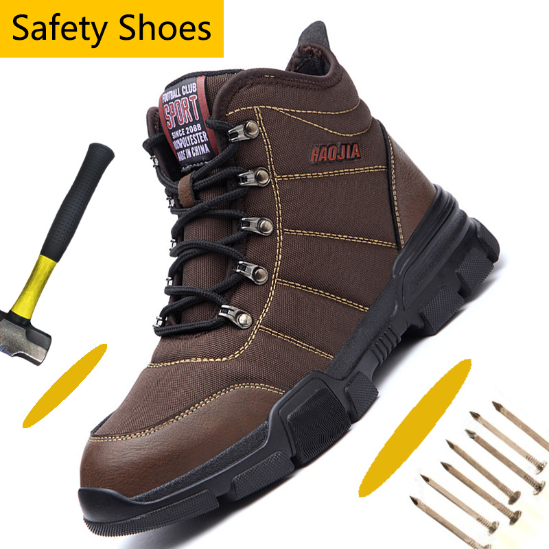 Steel Toe Work Boots Men Indestructible Safety Shoes For Men Industrial Construction Work Safety Boots Slip Resistant Work Shoes