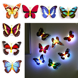 Креативный цветной светодиодный Ночной светильник в виде бабочки, красивый домашний декоративный настенный ночной Светильник для спальни, случайный цвет