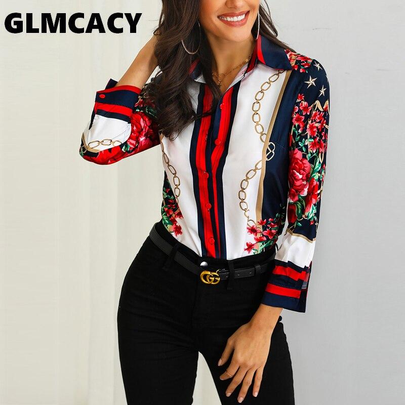 Women Floral & Chains Print Casual   Blouse   Bohemian Chiffon Turn-down Collar Streetwear Elegant Office Lady Spring Autumn   Shirts