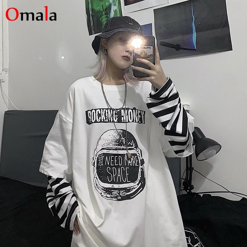 Camiseta informal de otoño con estampado de letras, cuello redondo, camisetas a rayas, creatividad, holgadas, top de gran tamaño de manga larga, ropa informal estilo Hip Hop
