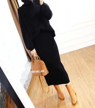 Cashmere Sweater knitted suit with skirt For Women Outfits Korean Version Loose Women's Knitted Two piece Set winter knit sets 1