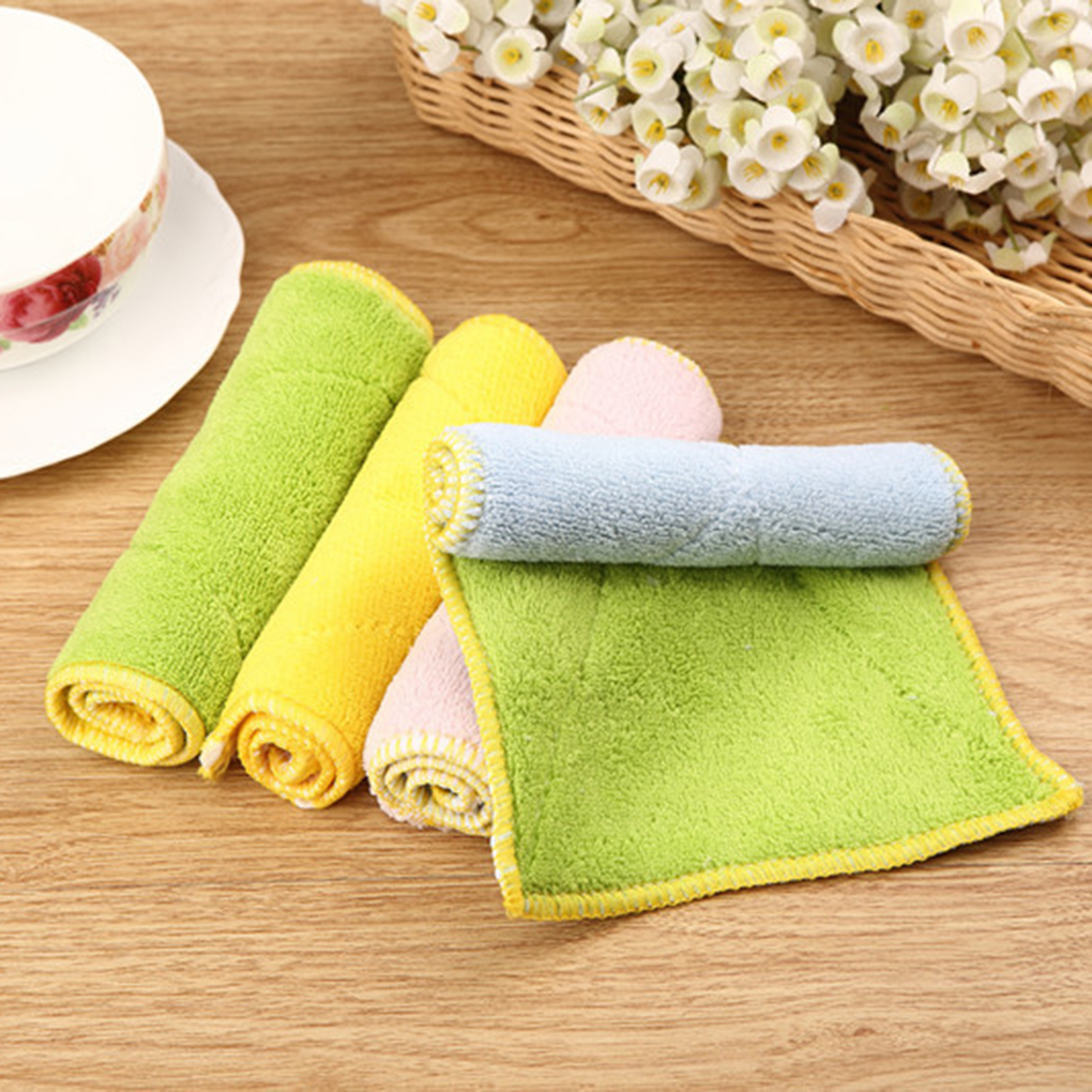 Hot Sale 1PC/2PCS Double-layer Absorbent Microfiber Kitchen Dish Cloth Non-stick Oil Household Cleaning Wiping Towel Kichen Tool