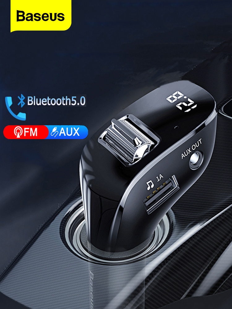Baseus Car FM Transmitter Bluetooth 5.0 AUX Handsfree Wireless Car Kit Dual USB Car Charger