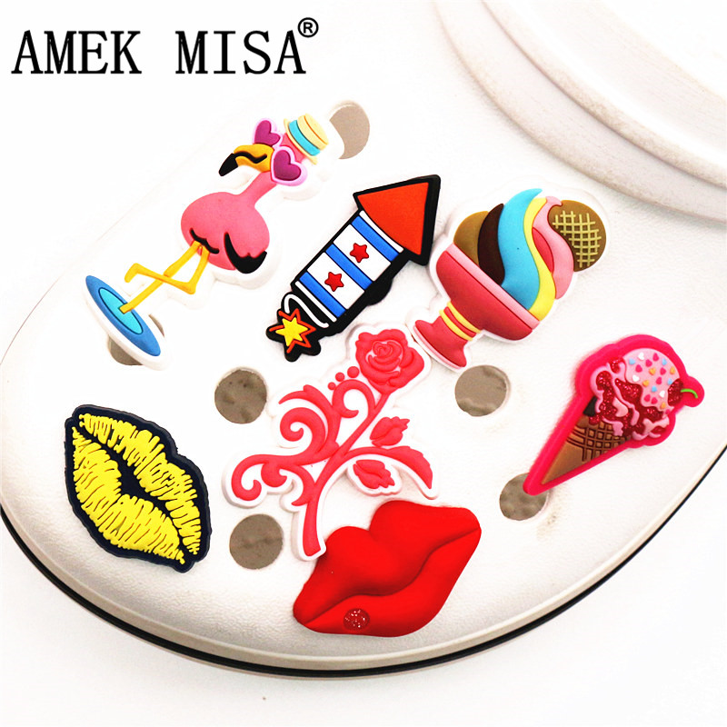 Single Sale 1pc Original Shoe Charm Decoration Cartoon Flamingo/Rose/Lips/Ice Cream/Rocket Shoe Buckle Accessories Free Shipping