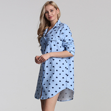 100% ผู้หญิงฝ้ายผู้หญิงชุดนอนผ้าฝ้ายชุดนอนผู้หญิง PLUS ขนาด Night ผ้าฝ้าย nightwear สำหรับผู้หญิงแขนยาวชุดนอน