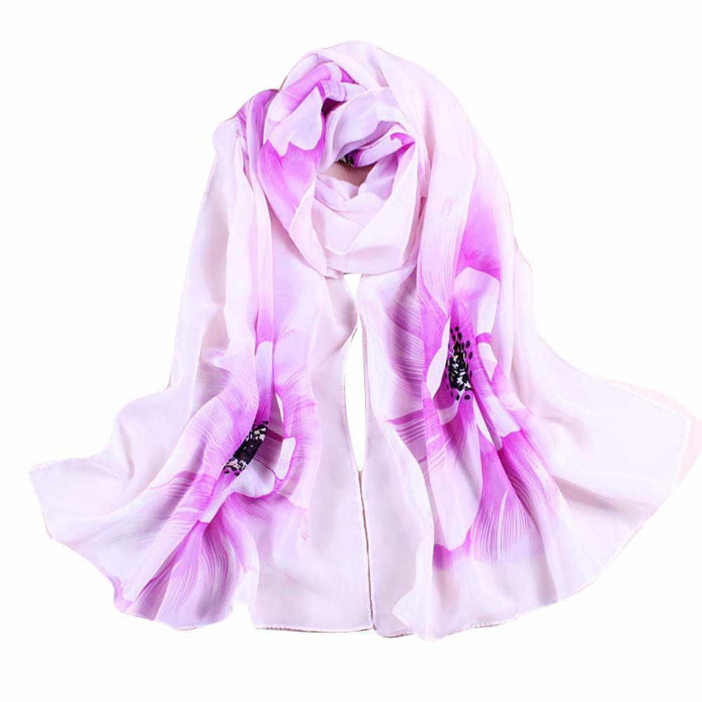 Chiffon cachecol feminino macio fino chiffon lenço de seda flor impresso cachecóis envoltório xale flores xale verão xales hijabs @ 25