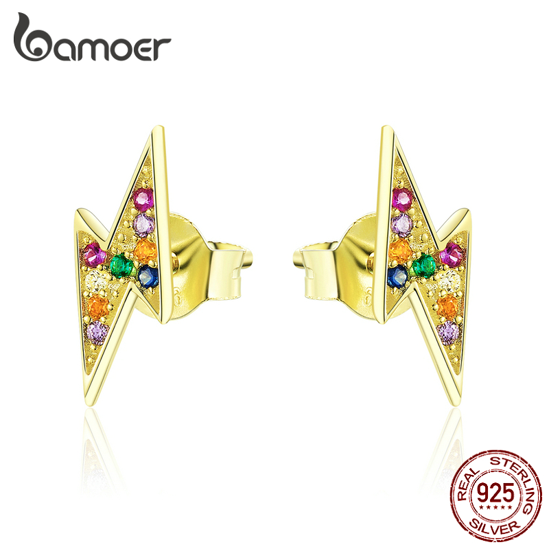 Bamoer Flash Stud Earrings For Women Genuine 925 Sterling Silver Gold Color Fashion Jewelry Small Earrings For Girls SCE806