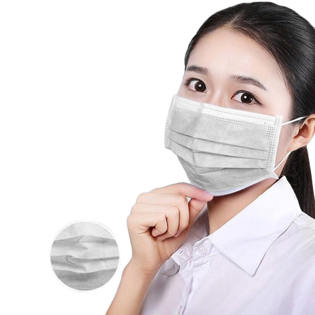 50pcs/10pcs Non-woven 3 Layers Anti-dust Bacteria Proof Masks Disposable Safe Breathable Face Mouth Mask Kids Adult  Filter Mask