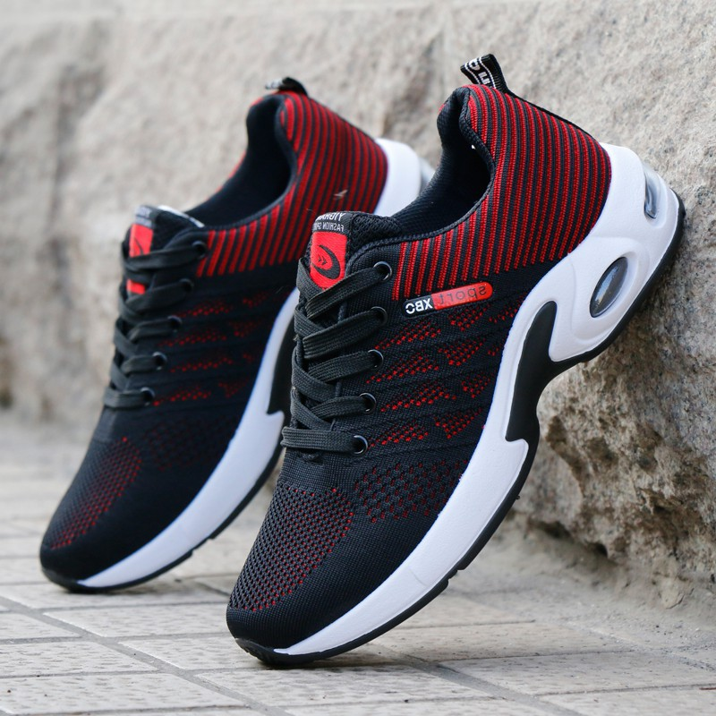 Sports Men's Shoes Flying Weaving Running Shoes Air Cushion Shoes 2018 New Wild Breathable Korean Tide Shoes Casual Shoes Men