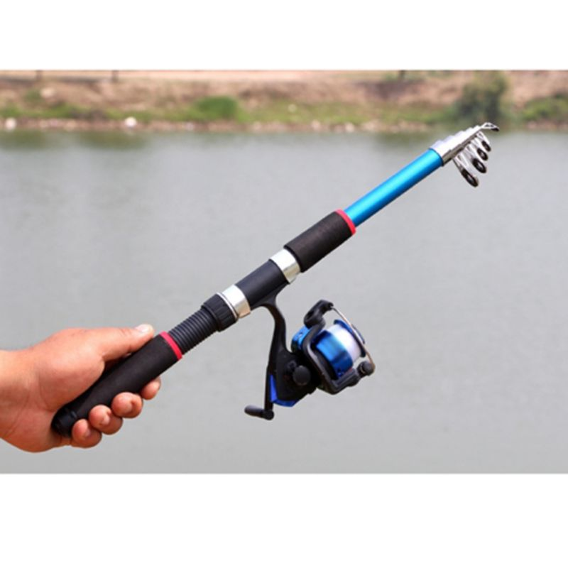 Telescopic Fishing Rod Retractable Portable Ocean Fishing Pole Wheel Roller Outdoor Fish Supplies Tool Accessories|Rod Combo| |  - title=