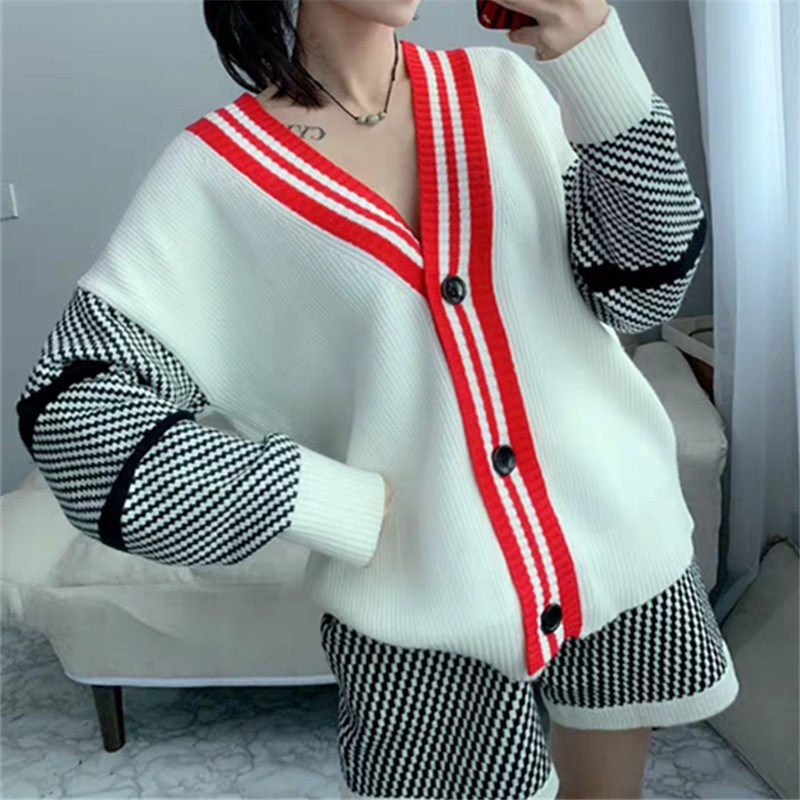 Fall Women Casual V-Neck Single Breasted Two Piece Set Pattern Long-Sleeved Plaid Knitting Two Piece Outfits
