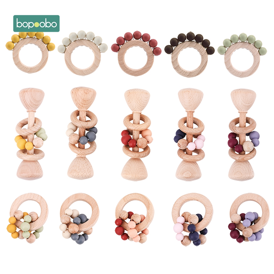 Bopoobo 1PC Baby Toys Beech Wooden Rattle Hand Teething Wooden Ring Can Chew Beads Play Gym BPA Free Montessori Toy Baby Rattles