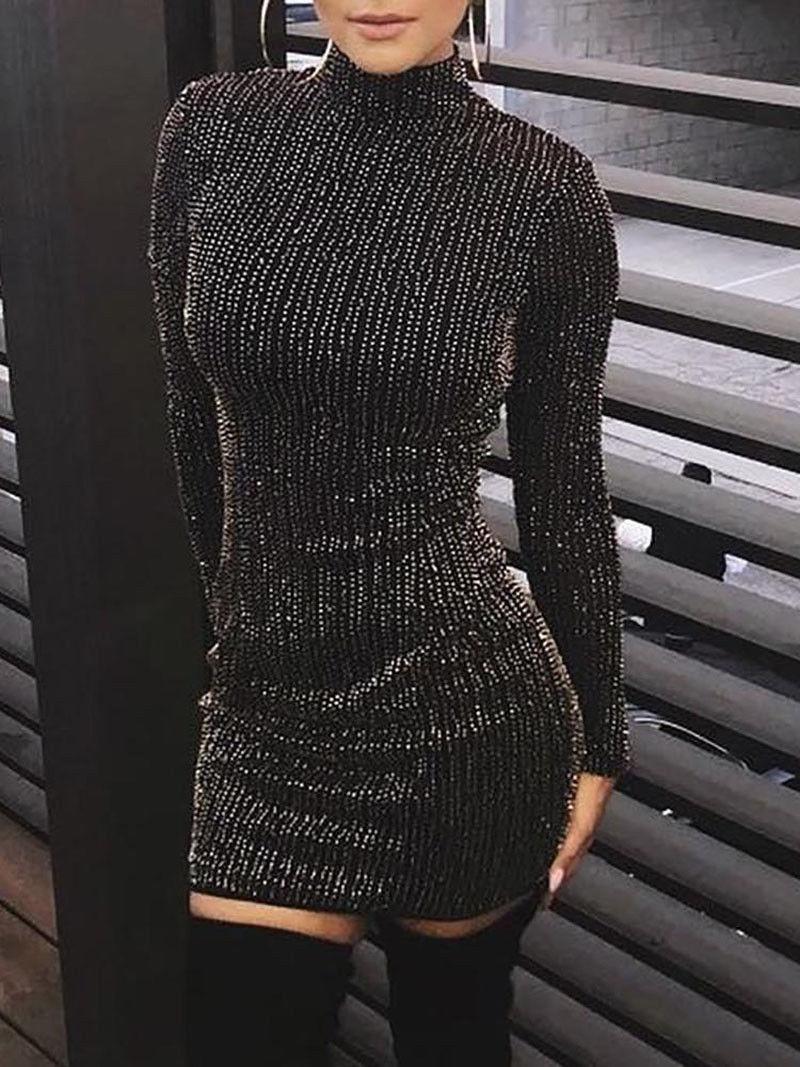 Hot Women Sequined Long Sleeve Tassel Bodycon Party Club Turtleneck Skinny Casual Sexy Club <font><b>Dress</b></font> image