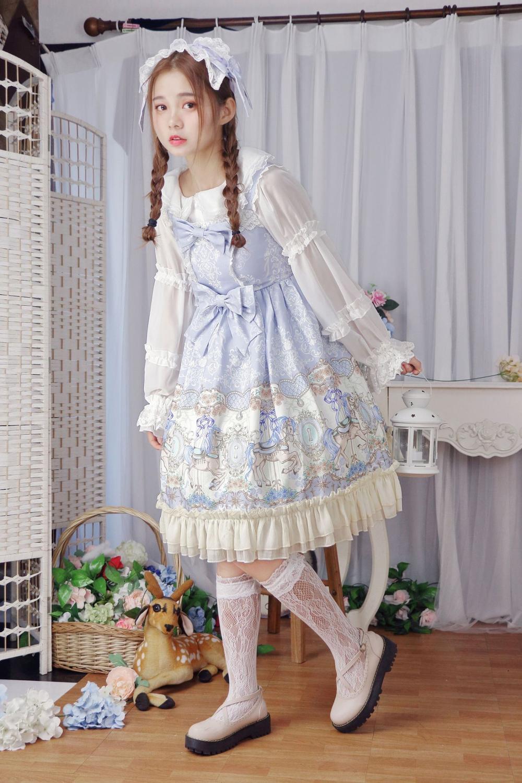 Princesse douce lolita robe à l'origine printemps et été Lolita cheval rotatif Rose Core quotidien ange poignée robe femmes HWK039