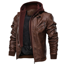 Men's Leather Jacket Autumn Locomotive PU Jacket Detachable Double Zipper Hooded Knight Leather Coat Brand Clothing EU Size