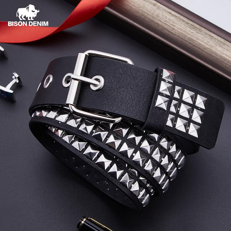 BISON DENIM Unisex Fashion Belt Rivet Belt for Women&Men Studded Belt Punk Rock With Pin Buckle Woman Belt Black ceinture femme