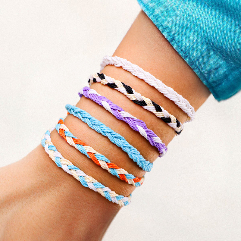Meetvii Simple Wax Line Handmade Braid Rope Bracelet Colorful Waveing Lucky String Bracelets for Women Jewelry Gift