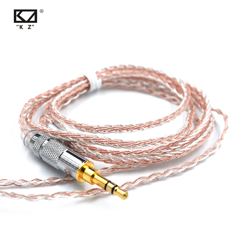 KZ 3.5mm 2Pin/MMCX Connector 8 Core Copper Silver Mixed Cable Use For SE846 KZ ZS4/ZS5/ZS6/ZSA/ED16 ZSN/ZST/ES4/ZS10/AS10/BA10
