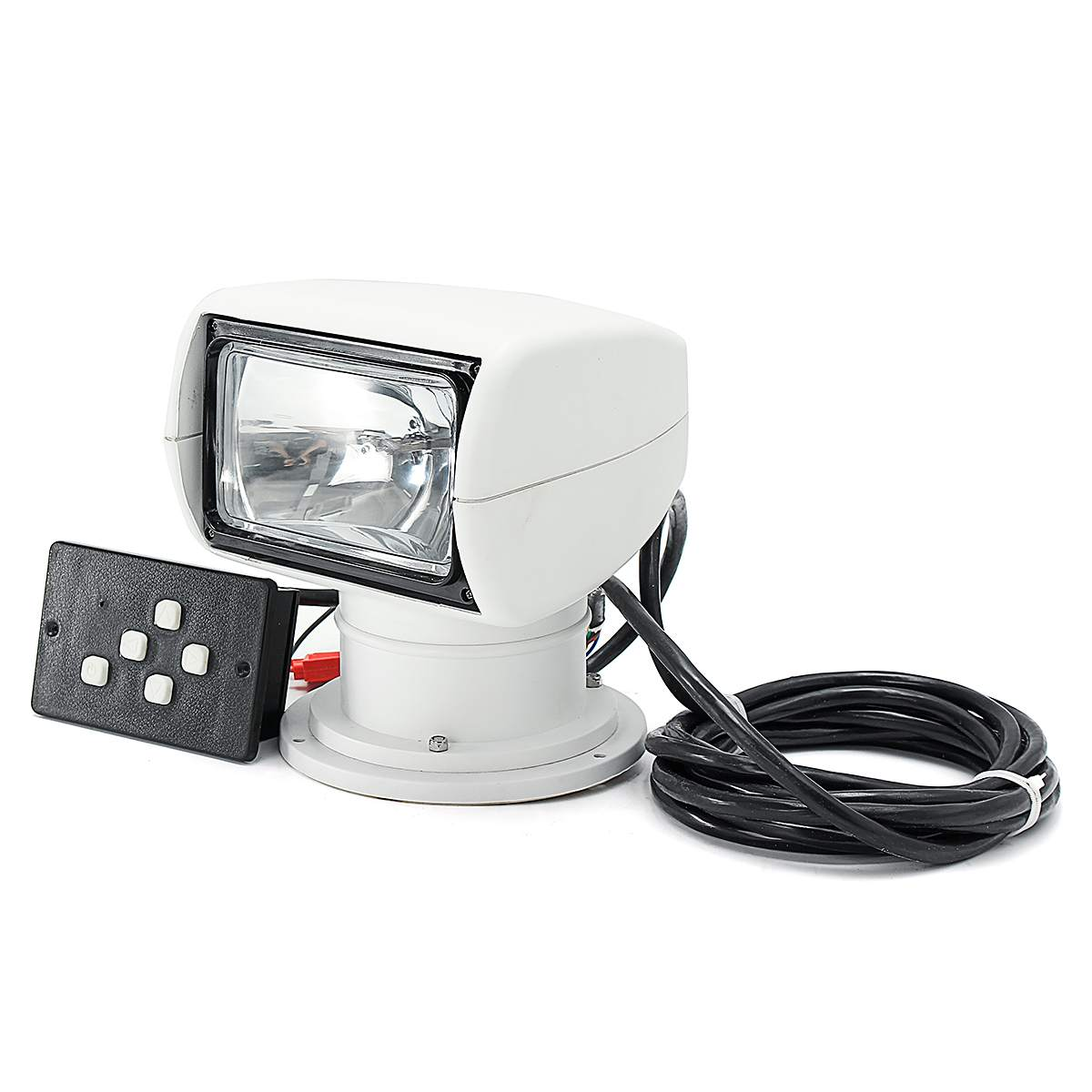 Smuxi Spotlight 12V Marine Boat Spotlight 2500LM 100W Remote Control White Searchlight Light PC+Aluminum Waterproof