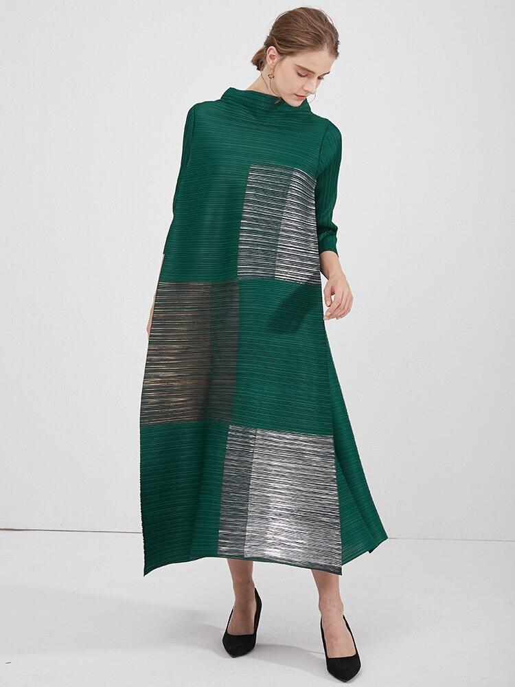 Плиссированные осенние 2020 Безразмерные женские зеленые платья с высоким, плотно облегающим шею воротником, бронзовые johnature Платье с принто...