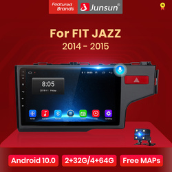 Junsun V1 Android 10.0 AI Voice Control 4G DSP Car Radio Multimidia Video Player GPS For HONDA FIT JAZZ 2014 2015 no 2 din 2din