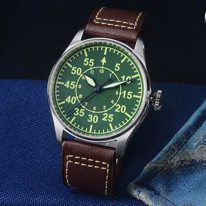 Image 3 - San Martin Pilot Men Mechanical Stainless Steel Watch Sapphire See through Case Back Luminous Leather Strap 100M Waterproof